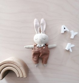 Mes petites lunes Mini Doll-Plush -Sleeping bunny with brown overalls