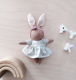 Mes petites lunes Mini Doll-Plush -Sleeping bunny with sage dress
