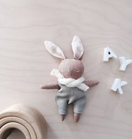 Mes petites lunes Mini Doll-Plush -Sleeping bunny with sage overalls and scarf