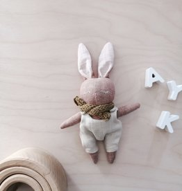 Mes petites lunes Mini Doll-Plush -Sleeping bunny with beige overalls and scarf