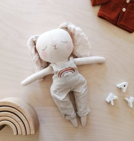 Mes petites lunes Doll-Plush - Bunny and beige rainbow overalls