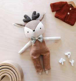 Mes petites lunes Doll-Plush - Deer with brown overalls