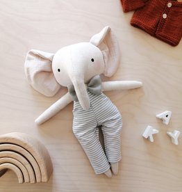 Mes petites lunes Doll-Plush - Elephant with striped overalls