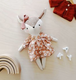Mes petites lunes Doll-Plush - Doe with floral dress