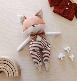 Mes petites lunes Plush Doll - Sleeping fox with striped overalls