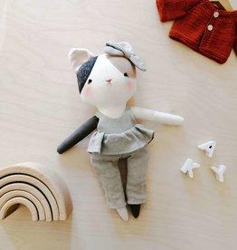 Mes petites lunes Doll-Plush - Cat with skirt and sage pants