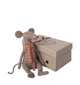 Maileg Rat gris avec foulard ligné rouge