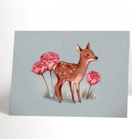 Valérie Boivin Illustrations Carte de souhaits - Bambi et fleurs