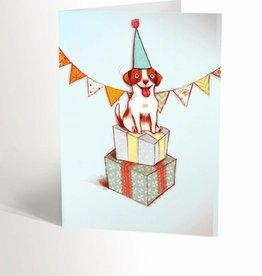 Valérie Boivin Illustrations Carte de souhaits - Chien festif