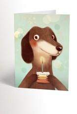 Valérie Boivin Illustrations Carte de souhaits - Teckel et le petit gâteau