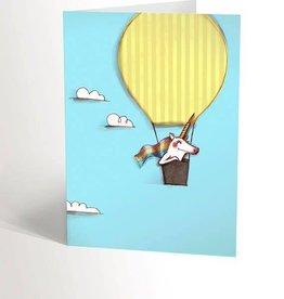 Valérie Boivin Illustrations Carte de souhaits - Licorne en montgolfière