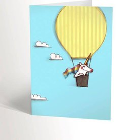 Valérie Boivin Illustrations Greeting Card - Unicorn in hot air balloon