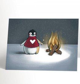 Valérie Boivin Illustrations Carte de souhaits - Pingouin et feu de camp
