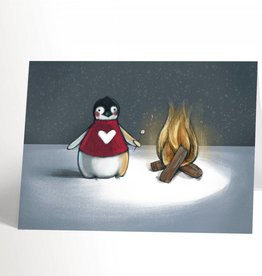 Valérie Boivin Illustrations Greeting card - Penguin and campfire