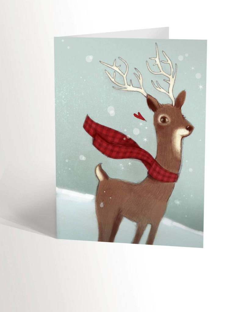 Valérie Boivin Illustrations Greeting card - Reindeer with scarf