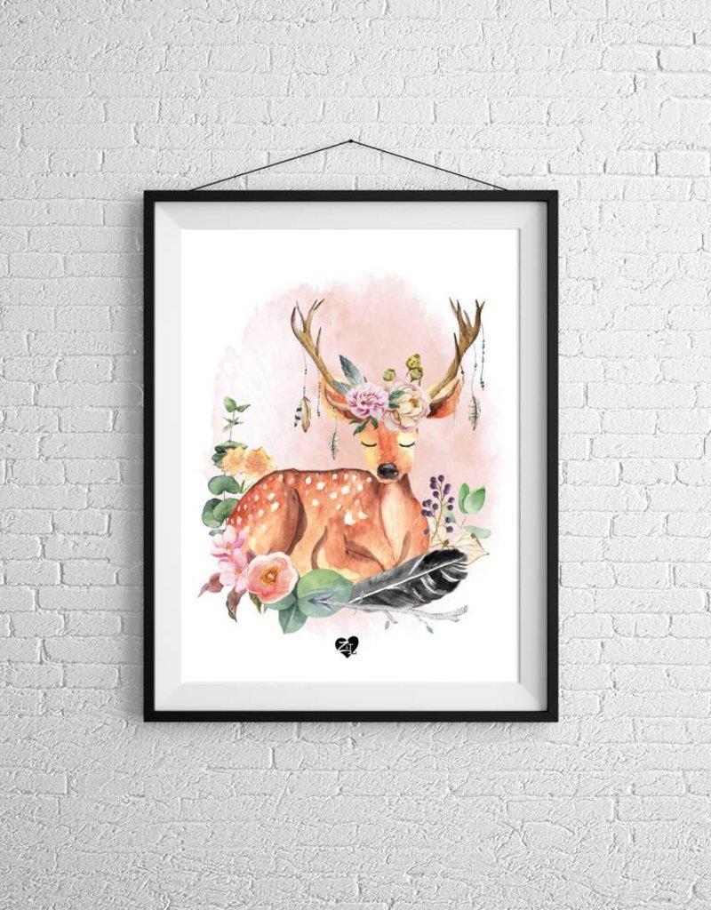 Zack et Livia Illustration - Chevreuil et fleurs