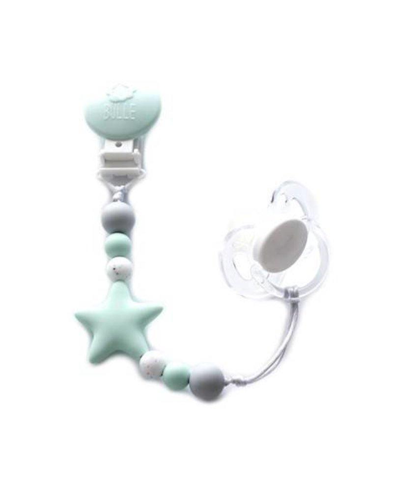 Bulle bijouterie Attache-suce étoile nano - menthe, tacheté et gris pâle