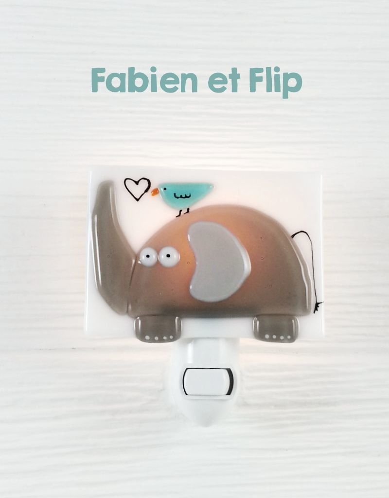 Veille sur toi Veilleuse - Éléphant - Fabrien et Flip
