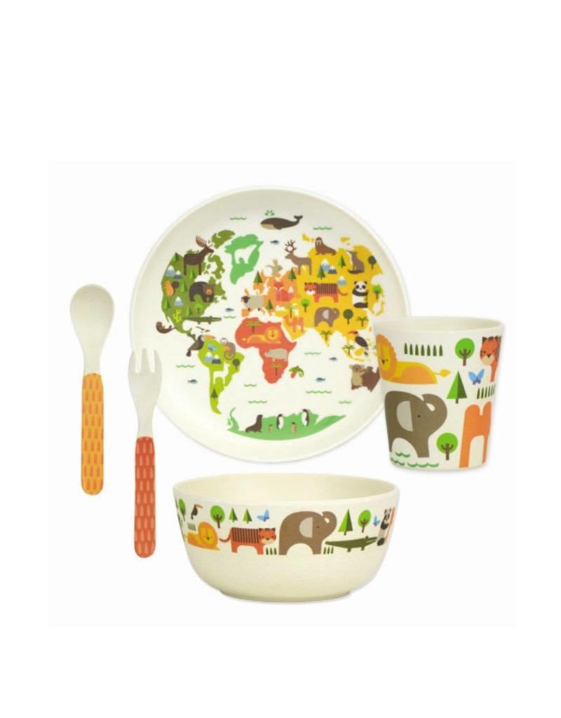 Petit Collage Ensemble Vaisselle en Bambou - Le Monde 3+
