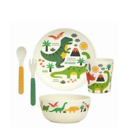 Petit Collage Ensemble Vaisselle en Bambou - Dinosaures 3+