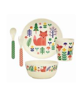 Petit Collage Ensemble Vaisselle en Bambou - Animaux Forêt 3+