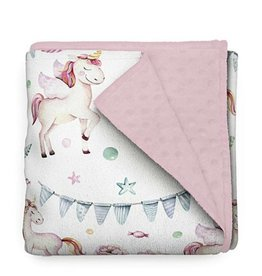 Olé Hop Couverture minky - Licorne rose