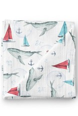 Olé Hop Bamboo blanket - Whale and boat