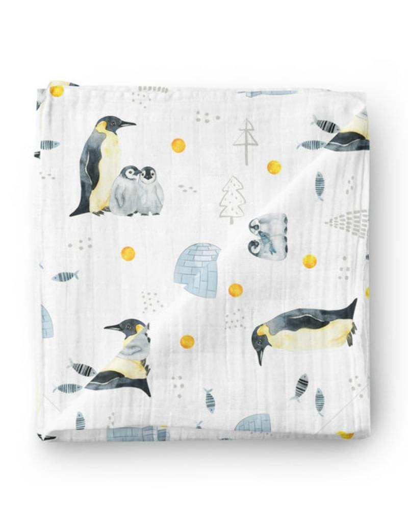 Olé Hop Bamboo blanket - Pingouins