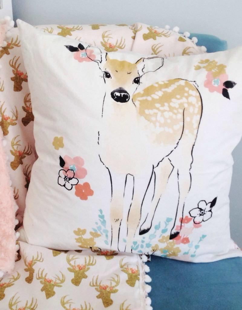 Le Grenier de Juliette Housse de coussin décorative - Faon avec fleur