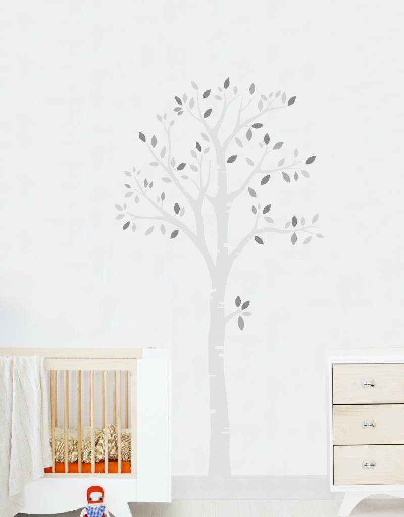 Veille sur toi Wall decal - Grey tree