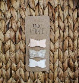 Mlle Léonie 3 felt buckle - Pink / Beige / White buckle