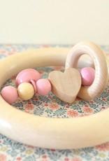 Orange & Coco Wooden teether - Pink heart