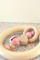 Orange & Coco Anneau de dentition en bois - Coeur rose