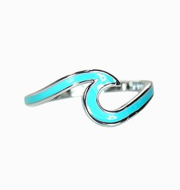 Puravida Puravida - Enameled Silver and Blue Wave Ring