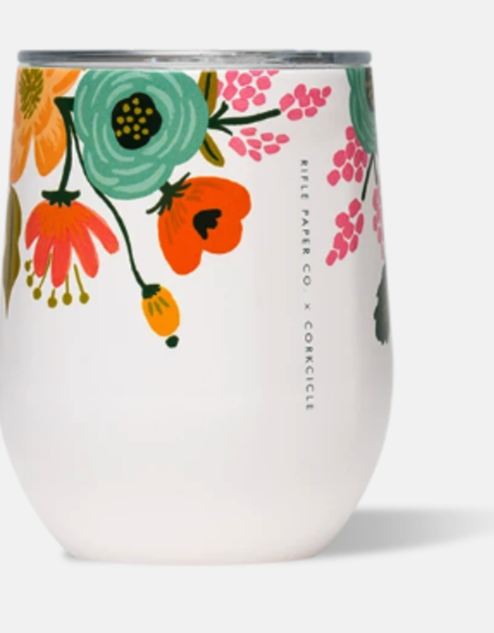 Corkcicle Corkcicle - 12oz Stemless Rifle Paper - Lively Floral Cream