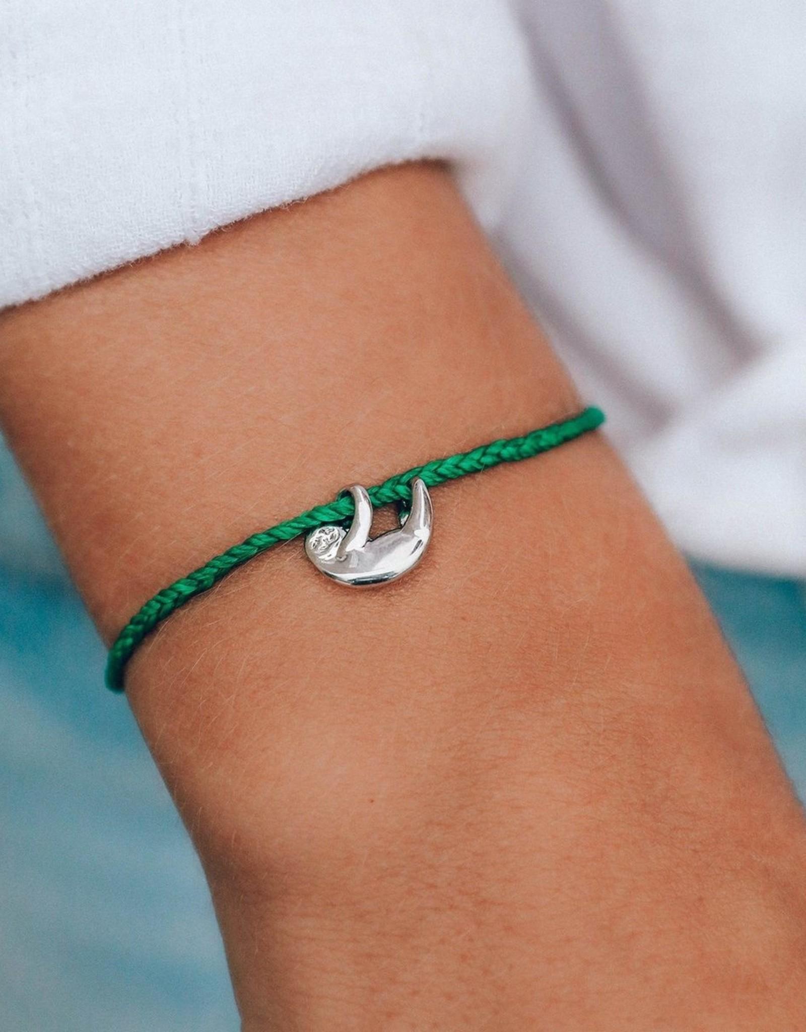 Pura Vida Pura Vida - Charm Bracelet Sloth - Dark Green