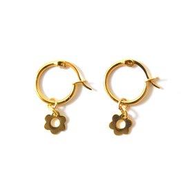 f.y.b. - Earrings Kaia Hoop Flower Gold
