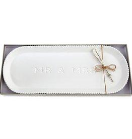Mud Pie Mud Pie - Mr. & Mrs. Beaded Hostess Tray Set