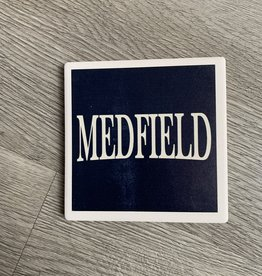 Paint the Town Paint the Town - Medfield Navy Text Coaster