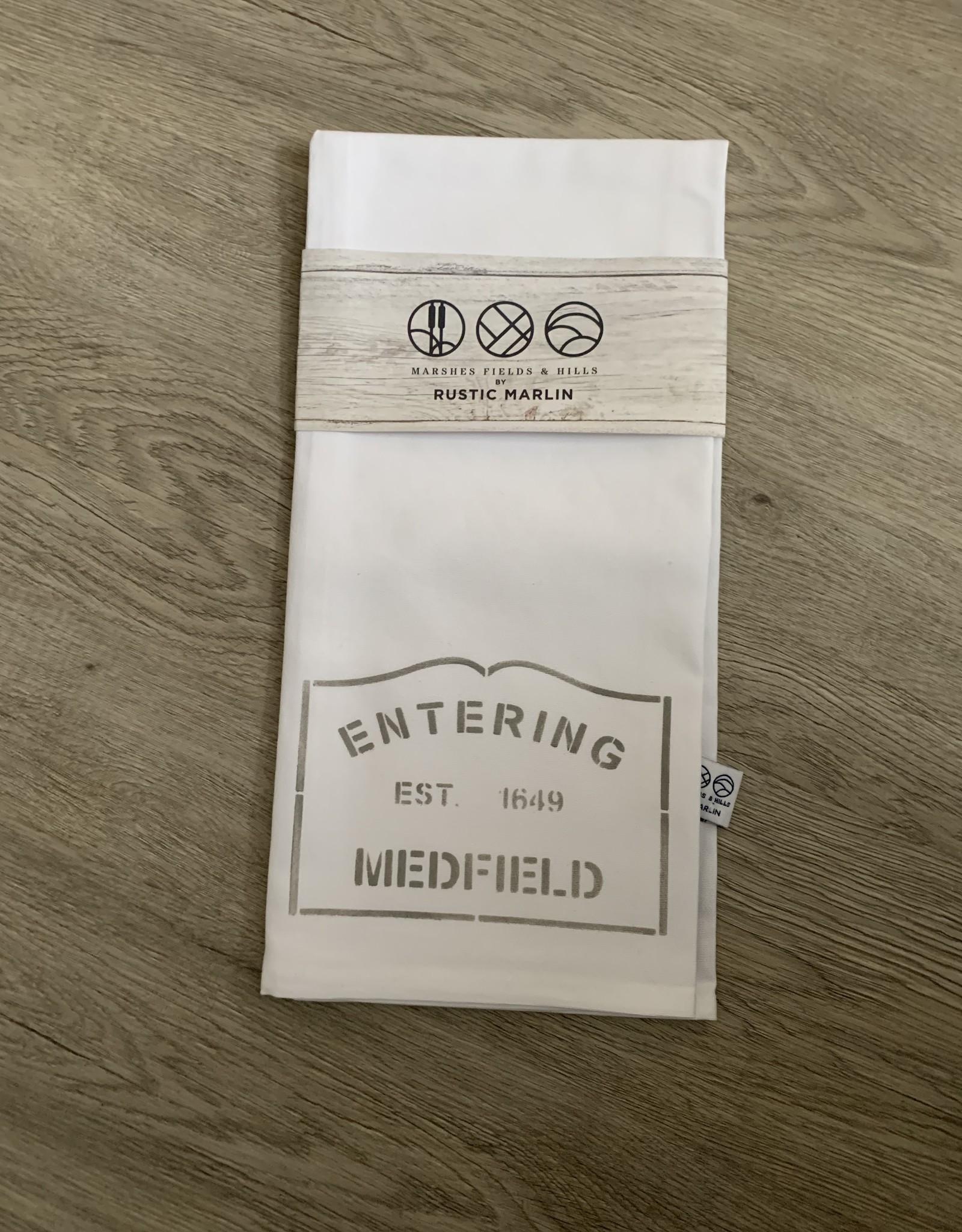 Rustic Marlin - Entering Medfield Tea Towel