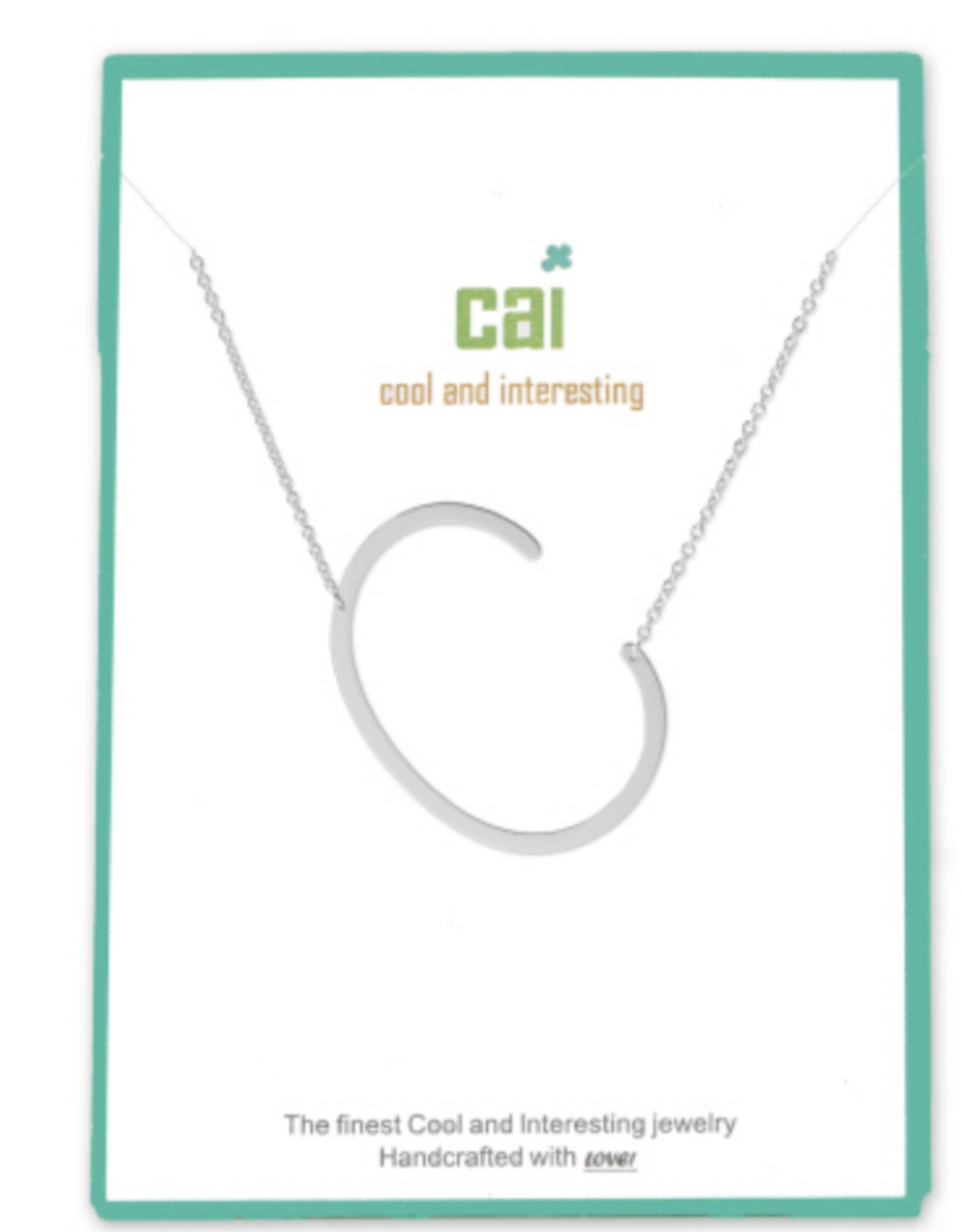 """CAI - Silver Initial Necklace - 16"""" with 2"""" Extension"""