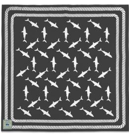 Beach Road Designs - Beach Sheets Feeding Frenzy - Great White Grey
