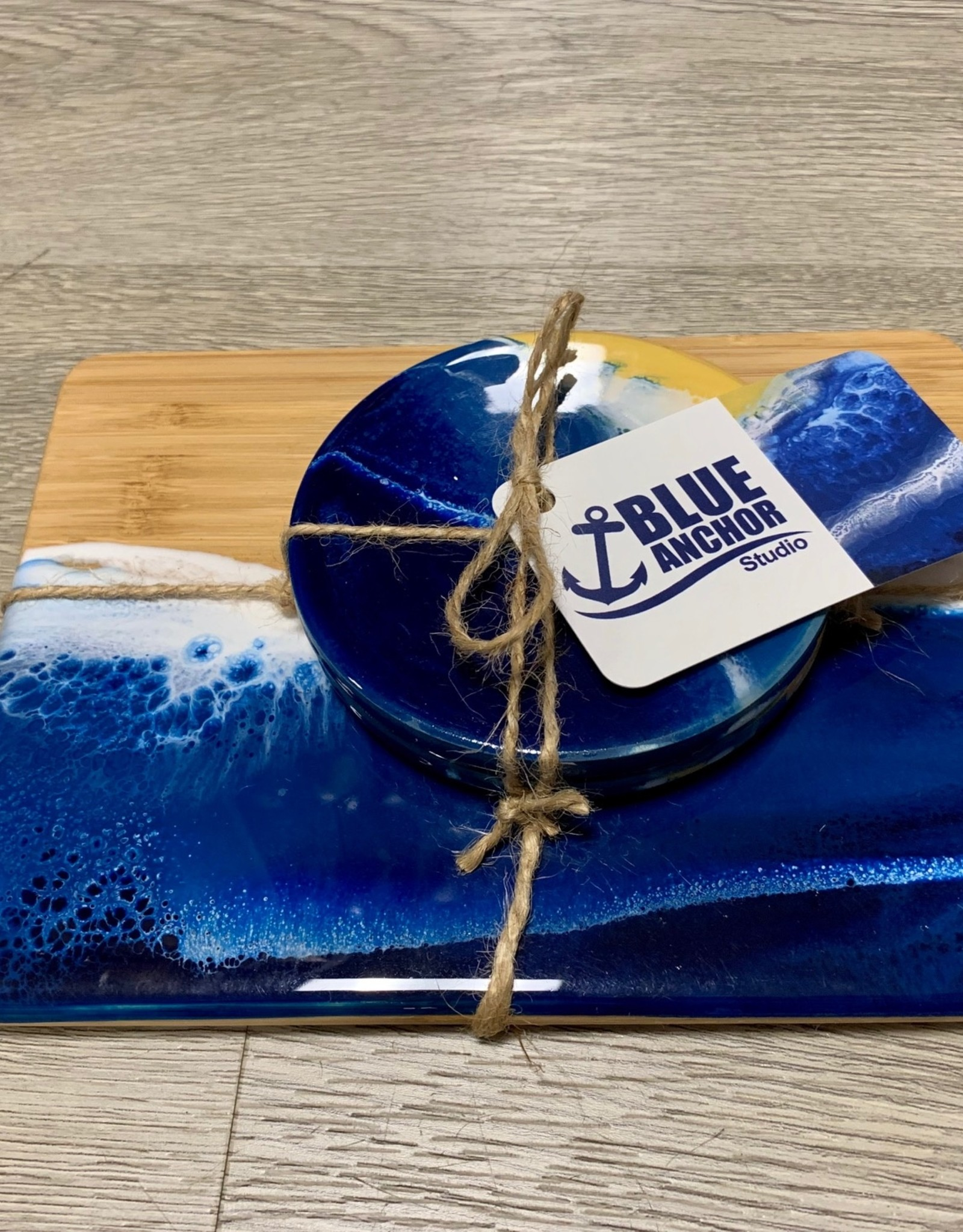 Blue Anchor Studio - Ocean Wave Cheese Tray and 2 Coasters