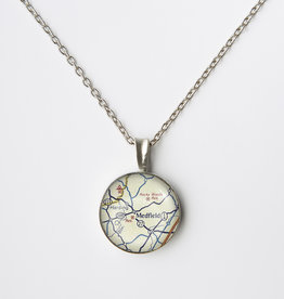 Chart Metalworks Chart Metalworks  Extra Small Necklace - Medfield Map