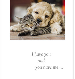 Cardthartic - Dog & Cat Snuggling Anniversary To Spouse Card