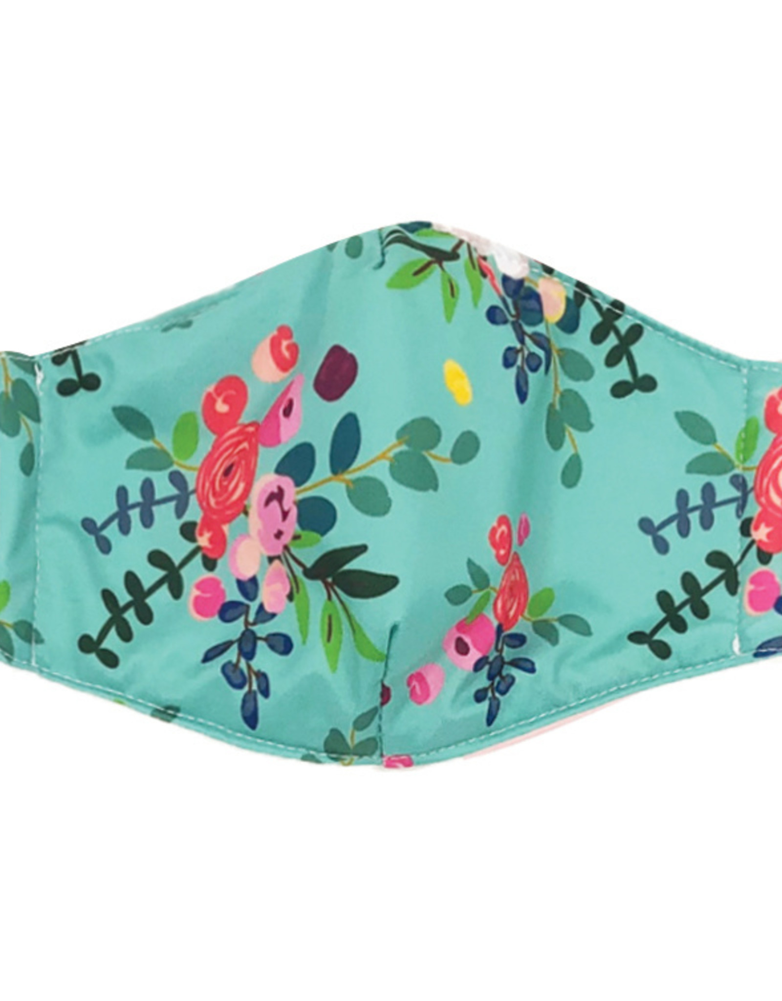 DM Merchandising Cotton Face Masks - Adjustable Straps - Teal Floral