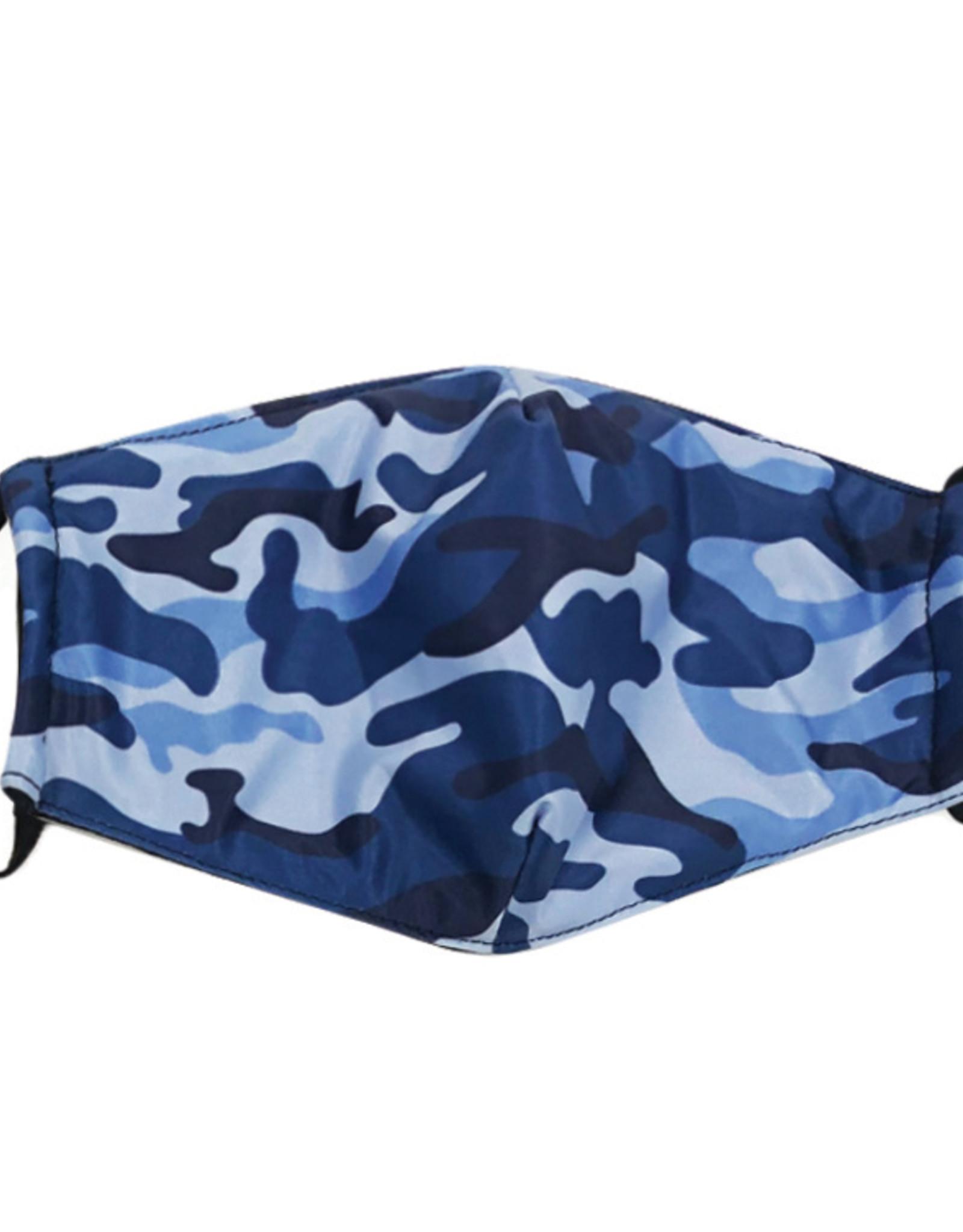 DM Merchandising Cotton Face Masks - Adjustable Straps - Blue Camo