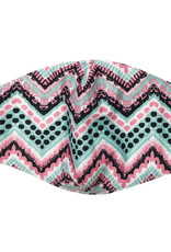 DM Merchandising Cotton Face Masks - Adjustable Straps - Pink/Black/Teal Herringbone