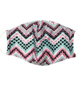 Cotton Face Masks - Adjustable Straps - Pink/Black/Teal Herringbone