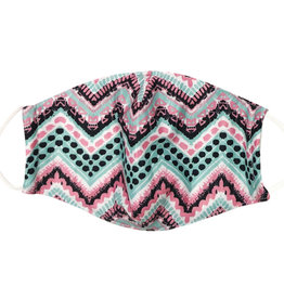 DM Merchandising Cotton Face Masks - Adjustable Straps - Pink/Black/Teal Herringbone
